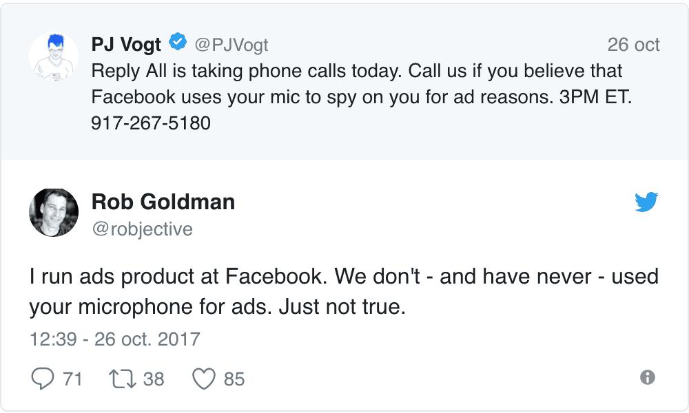 Facebook escucha lo que hablas cerca de tu smartphone